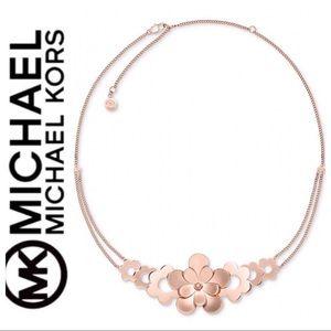 Michael Kors Rose Gold Flower Statement Necklace